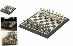 "Deco 79 28489 Aluminum & Wood Chess Set 12"" x 12"""