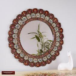 "Decorative Cuzcaja Round wall Mirror 23.6"" - Peruvian Red mi"