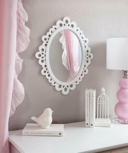 Butterfly Craze Decorative Oval Wall Mirror, White Wooden Fr
