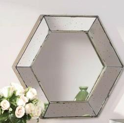 "Decorative Wall Mirror 20"" Hexagon Distressed Frame Accent D"
