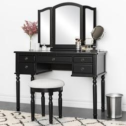 Deluxe Vanity Table Set with Tri-Fold Mirror 5 Drawers Makeu