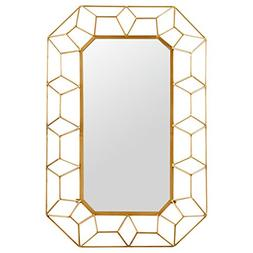 "Stone & Beam Diamond Shape Metal Frame Mirror, 34.25""H, Gold"