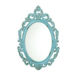 Distressed Baby Blue Wall Mirror - Accent Plus - Victorian S