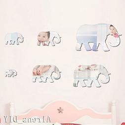 Alrens_DIYTM6 pcs Cute Elephants DIY Mirror Effect Reflectiv