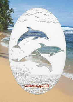 Dolphins Jumping Window Decal 8x12 OVAL Static Cling for Gla