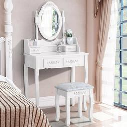 Dressing Table For Girls 4 Drawers Oval Mirror Vanity Bench