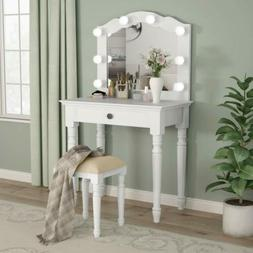 Dressing Table White with Stool and Mirror Bedroom Lighted V