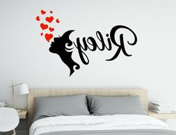 Face silhouette with hearts custom name - Wall Decal por Bed