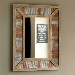 Farmhouse Wall Mirror Reclaimed Wood and Corrugated Metal