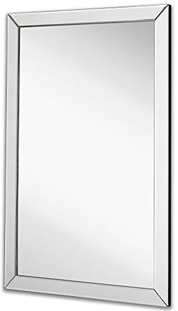 Large Flat Framed Wall Mirror with 2 Inch Edge Beveled Mirro