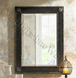 Floral Corner Accent Wall Mirror Black Chestnut 38H Vanity R