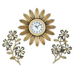 Flower-Shaped Clock Wall And Mirrors - Set Of 3, by Collecti