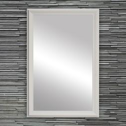 Framed Wall Mirror in White Finish - Woodford Collection