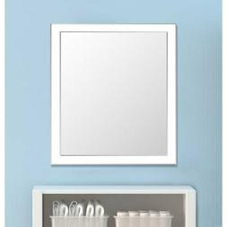 Framed Wall Mirror- White/Silver for Bathroom or Vanity - Wh