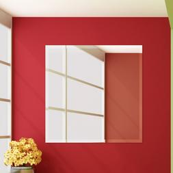 Fab Glass and Mirror Frameless Square Beveled Wall Mirror