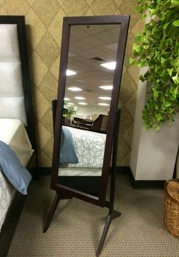 Free Standing Full Length Mirror Espresso Wood Rectangle Che