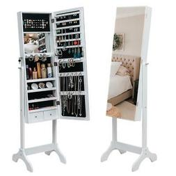 Lockable Full-length Mirror Jewelry Cabinet Armoire Organize