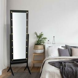 Full Length LED Floor Mirror Lights Bedroom Wood Standing Dr