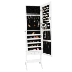 Full Length Mirror Jewelry Cabinet Armoire Storage Organizer