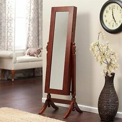 Full Length Tilting Cheval Mirror Jewelry Armoire in Cherry