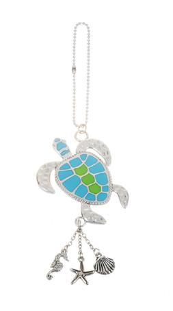 Gnz Fun In The Sun Zinc Car Charm -Sea Turtle w/Dangles