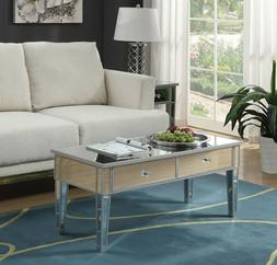 Glam Mirrored Coffee Cocktail Table Silver Finish Accent Tab