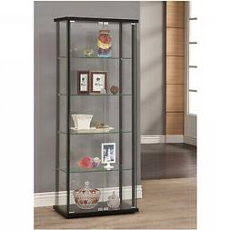 Glass Curio Cabinet Tower Door Display Shelves Showcase Coll