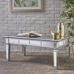 Mirrored Coffee Table Glass End Side Table Modern Living Roo