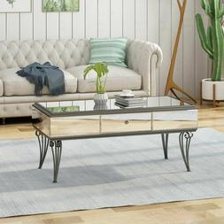 Mirrored Coffee Table Glass Modern Living Room Furniture Sil