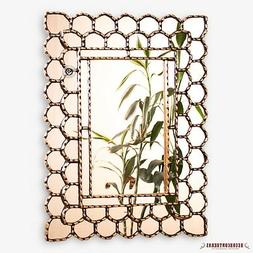"Gold Rectangle wall Mirror decorative 23.6x17.7""- Peruvian M"