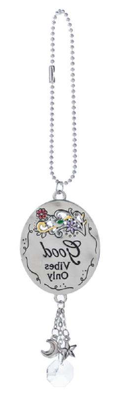 GOOD VIBES ONLY, Flowers Ganz Car Charm, Dangle Charms Chain