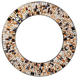 """Handcrafted Glass Mosaic Decorative 24""""  Round  Wall Mirror,"""