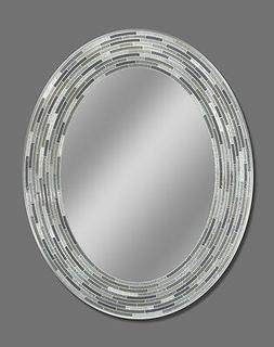 Headwest Reeded Charcoal Oval Tiles Wall Mirror, 23 inches b