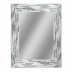 Headwest Reeded Charcoal Tiles Wall Mirror, 30 Inches By 24