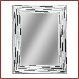 Headwest Reeded Charcoal Tiles Wall Mirror 30 inches Simulat