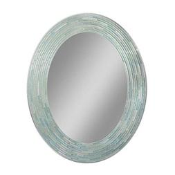 "Headwest Reeded Sea Glass Oval Wall Mirror, 29"" x 23"""