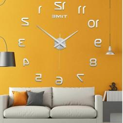 Home Large Frameless Wall Clock Surface Sticker Art 3D Mirro