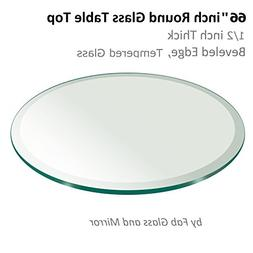 "66"" Inch Round Glass Table Top 1/2"" Thick Tempered Beveled E"
