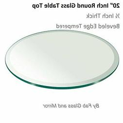 "20"" Inch Round Glass Table Top 1/2"" Thick Tempered Beveled E"