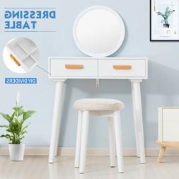 Vanity Makeup Dressing Table Set With Stool Removable Mirror