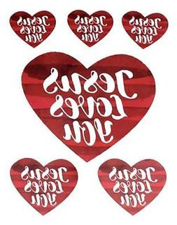 JESUS LOVES YOU 3 Sizes Set of 6 Window Car Mirror Locker  D