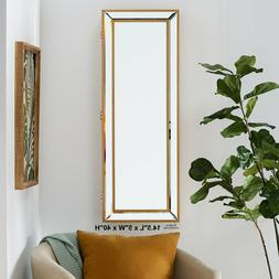 Jewelry Armoire Wall Mounted Cabinet Gold Mirrored Door Glam