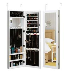 Jewelry Cabinet Armoire Mirrored Cabinet with Full-Length Mi