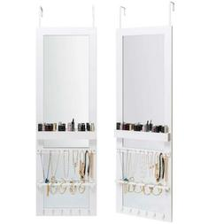 Jewelry Cabinet Armoire with Full Length Mirror Wall-Mounted