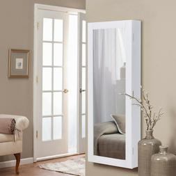Jewelry Cabinet with Mirror Wall Mounted White Armoire Stora