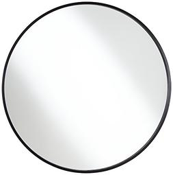 "Mayfair Matte Black 34"" Round Wall Mirror"