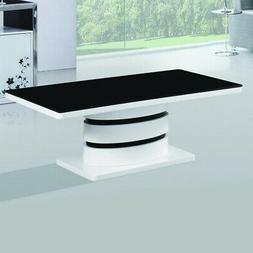 kilimanjaro Tempered Glass Coffee Table with Glossy Black an