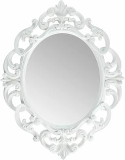 Kole White Oval Vintage Decorative Wall Mirror – Home Bath