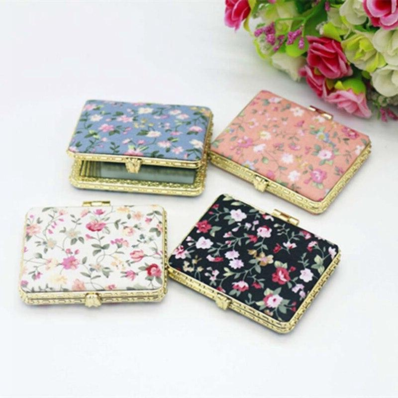 1pc Pocket Floral Two-side Folding <font><b>Mirror</b></font> Women Vintage