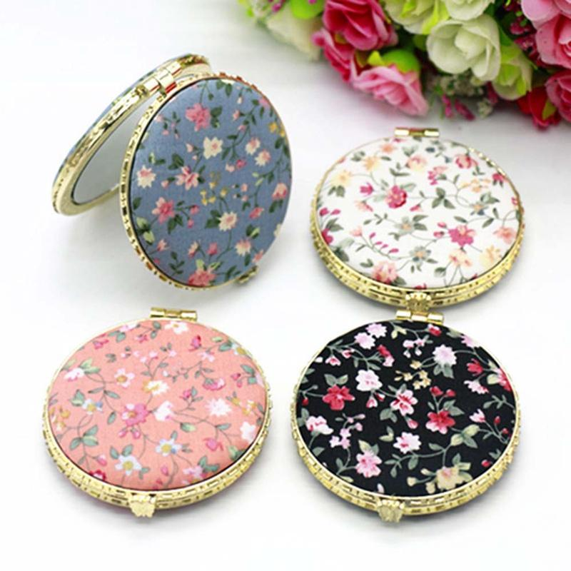 1pc mini makeup compact pocket floral font